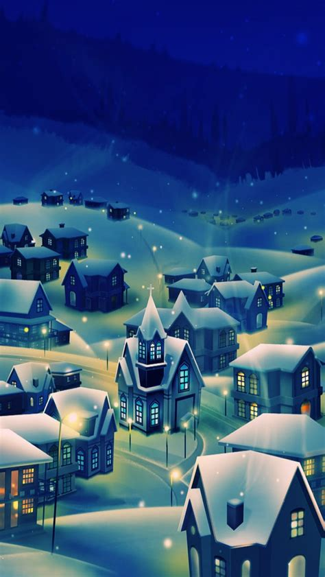 Peaceful Village Christmas Eve iPhone 5 Wallpaper HD